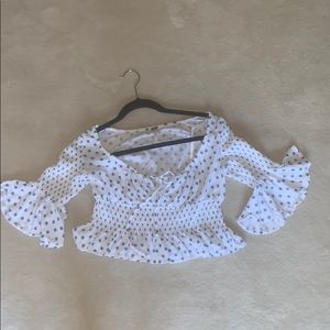 Free people- white and blue polka dot summer shirt